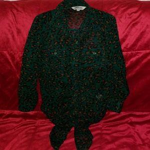 Green Leopard Tie-front top